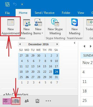 how-to-schecdule-an-appointment-in-ms-outlook-2016-step-1