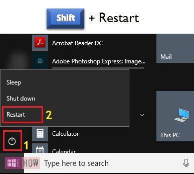 press shift plus restart