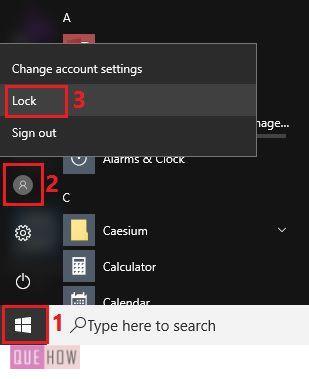 lock screen using start menu