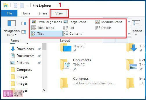file explorer- view tab