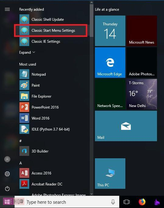open classic start menu settings
