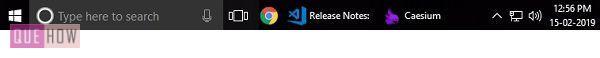 taskbar of desktop