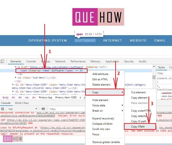 How to find Xpath in Chrome Step 4-1