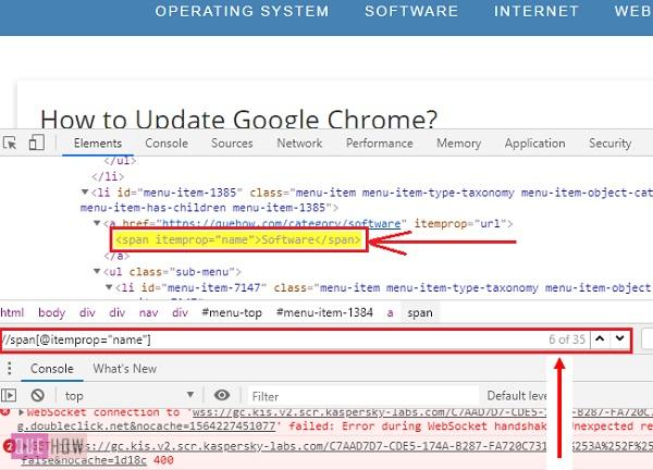 How to find Xpath in Chrome Step 4-2