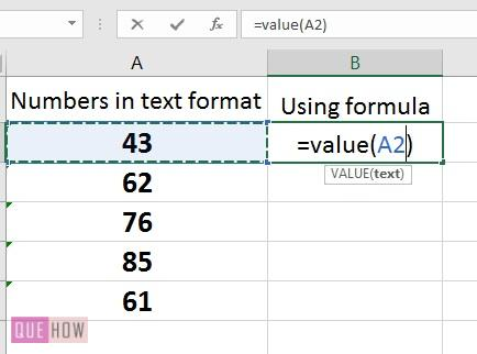 How to convert text to number in Excel -8 formula