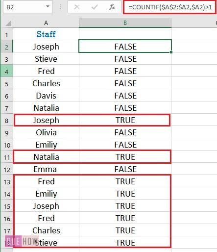 Formula for finding duplicates