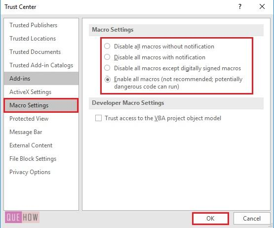 enable macro in trust centre 3