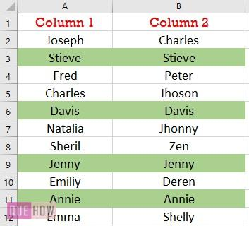compare two columns and highlight for exact row match 2