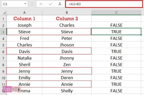 compare two columns for exact row match