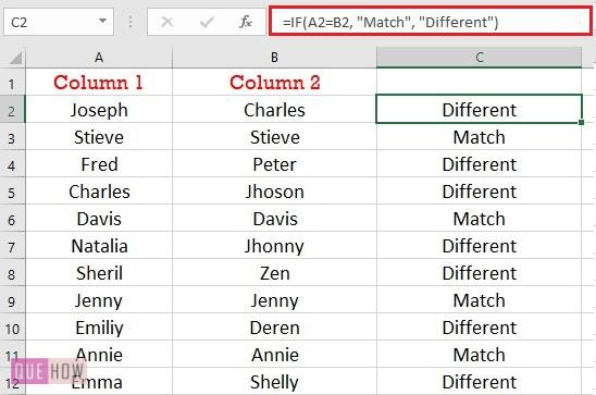 compare two columns for matches and differences
