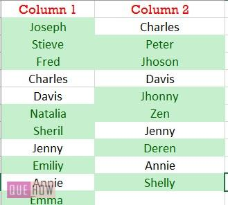 compare two columns highlight the differences 2