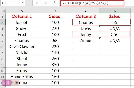 compare two columns using Vlookup for exact match