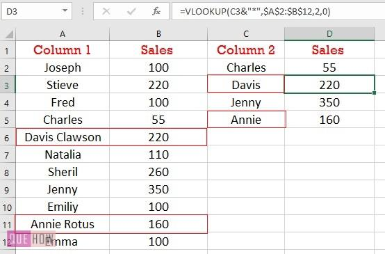 compare two columns using Vlookup for partial match