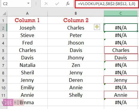 compare two columns using Vlookup