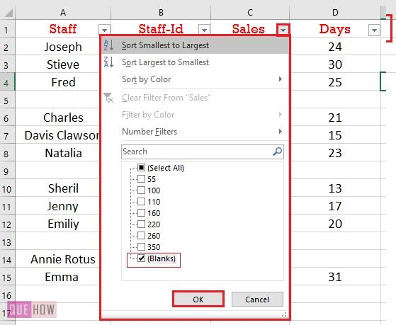 delete blank row using Key column 2
