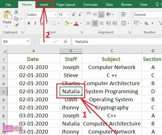 Create Pivot Table in Excel 1