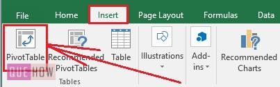 Create Pivot Table in Excel 2