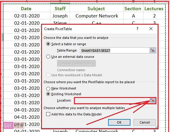 Create Pivot Table in Excel 3