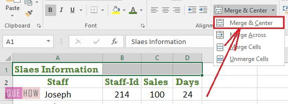Merge Cell in Excel 4
