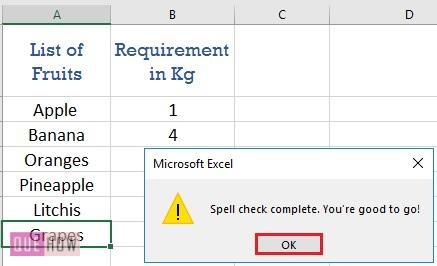 Spell Check in Excel - 7