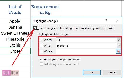 track changes in excel - 2