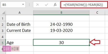 Calculate Age in Excel 1