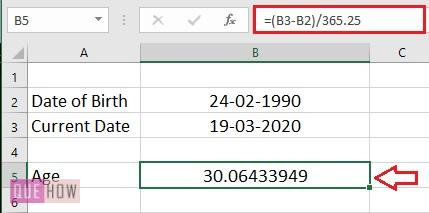 Calculate Age in Excel 4