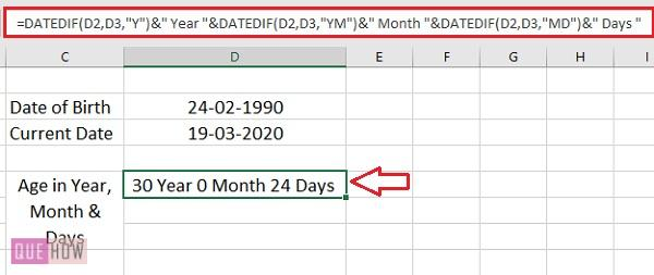 Calculate Age in Excel 5