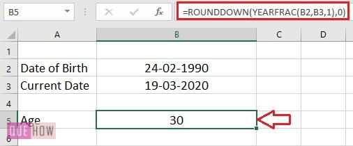 Calculate Age in Excel 6