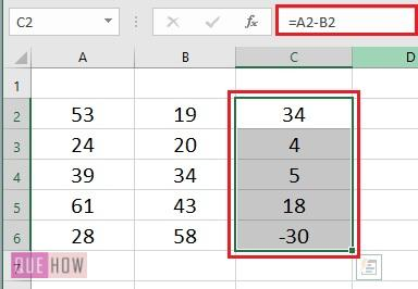 Subtract values in Columns- 3