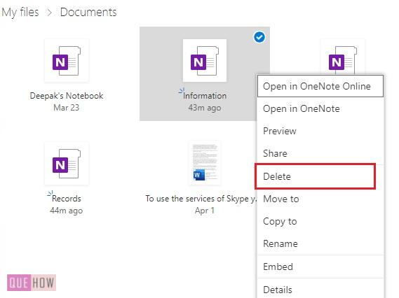 Delete a Notebook in OneNote 10