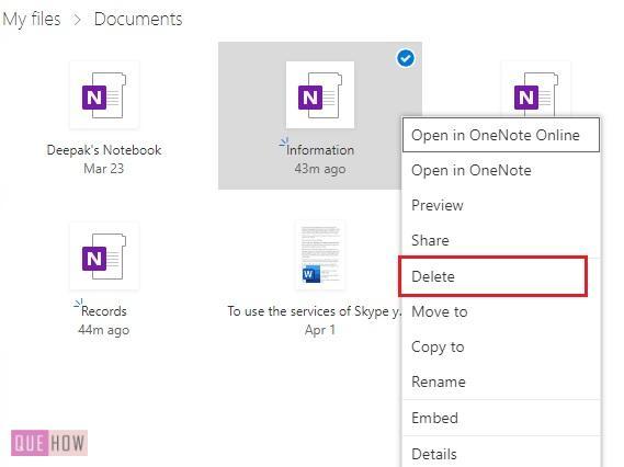 Delete a Notebook in OneNote 10