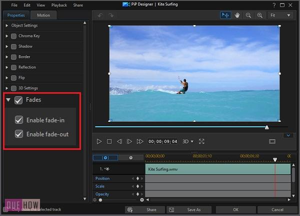 Fade Video in Power Director-8