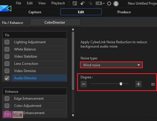 Remove Background Noise in Power Director-5