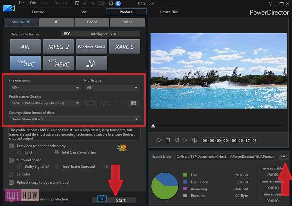 Save Video in Power Director-11