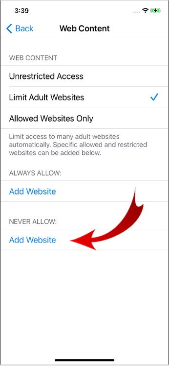 Block Websites in Safari on iPhone-8