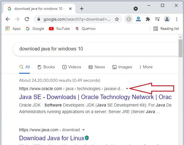Download Java in Windows 10 -3