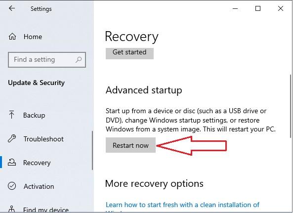 Enter Bios in Windows 10 - 5