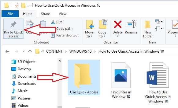 Pin a folder to Quick Access in Window 10- 2
