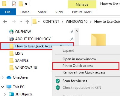 Pin a folder to Quick Access in Window 10- 3