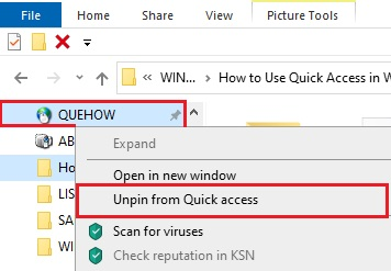 Quick Access in Window 10- 04