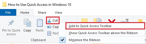Quick Access in Window 10- 8