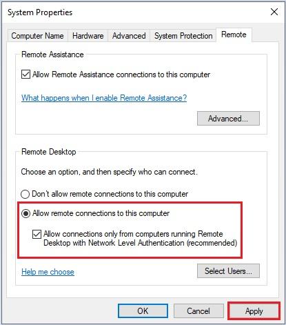 Enable Remote Desktop in Windows using Control Panel -4