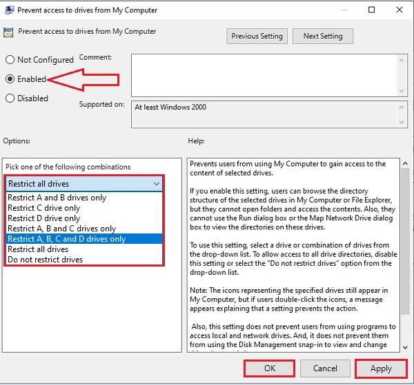 Prevent Access to Drive in Windows 10 -12